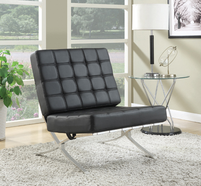 Armless Upholstered Accent Chair Black - Hover