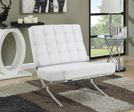 Armless Upholstered Accent Chair White - Hover