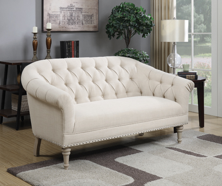 Tufted Back Settee with Roll Arm Natural - Hover