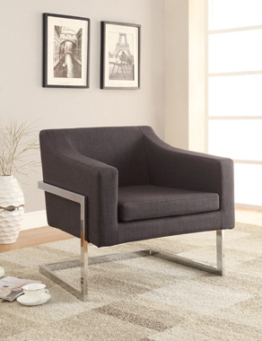 Upholstered Accent Chair Chrome and Grey - Hover