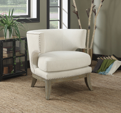 Barrel Back Accent Chair White and Weathered Grey - Hover