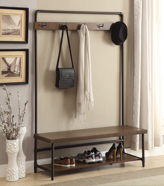 Hall Tree with 5 Coat Hooks Chestnut and Dark Bronze - Hover