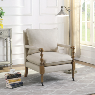 Upholstered Accent Chair with Casters Beige - Hover