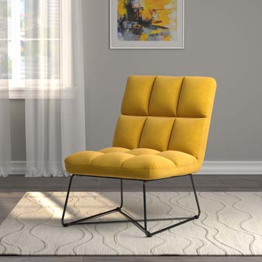 Armless Upholstered Accent Chair Yellow - Hover