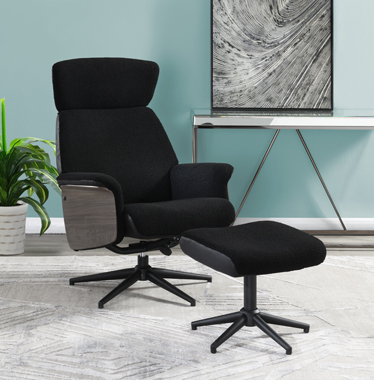 Adjustable Height Accent Chair with Ottoman Black - Hover