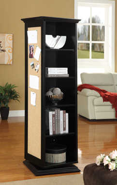Swivel Accent Cabinet with Cork Board Black - Hover