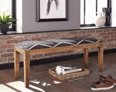 Serene Rectangular Upholstered Bench Natural and Navy - Hover