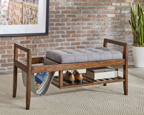 Slatted Shelf Bench Walnut and Grey - Hover