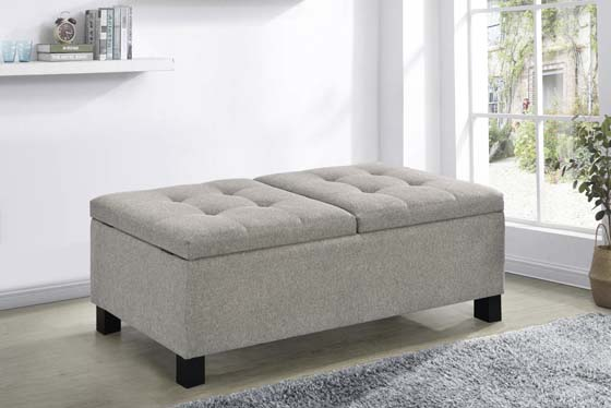 Corner Split Storage Bench Sandy Beige - Hover