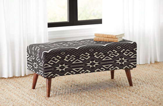 Upholstered Storage Bench Black and White - Hover