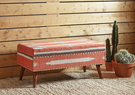 Upholstered Storage Bench Orange and Beige - Hover