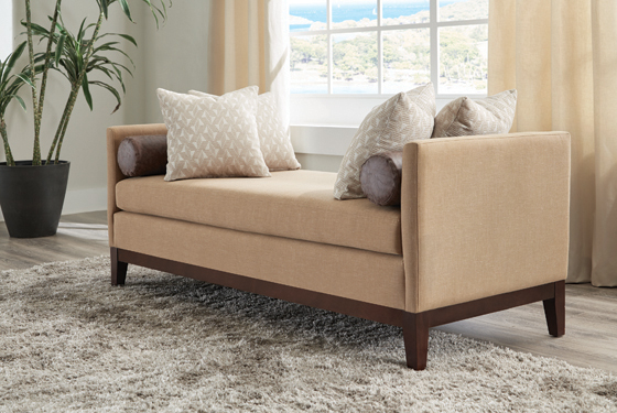 Upholstered Wooden Legs Bench Amber and Brown - Hover