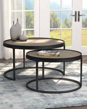 2-piece Round Nesting Tables Weathered Elm - Hover