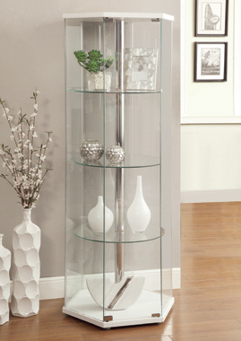4-shelf Hexagon Shaped Curio Cabinet White and Clear - Hover