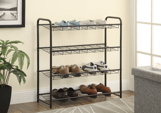 4-shelf Metal Shoe Rack Black - Hover