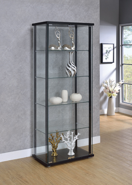 5-shelf Glass Curio Cabinet Black and Clear - Hover