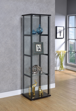 4-shelf Glass Curio Cabinet Black and Clear - Hover