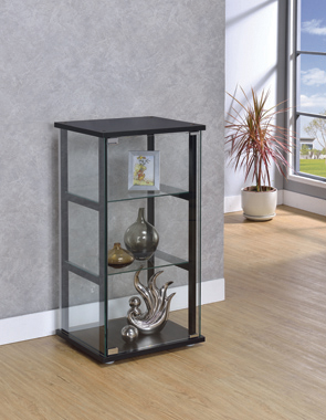 3-shelf Glass Curio Cabinet Black and Clear - Hover