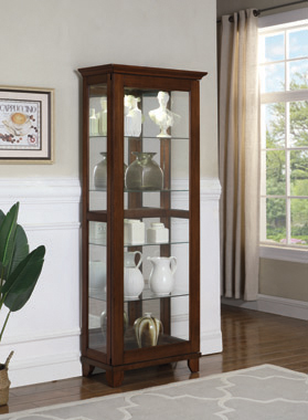 5-shelf Curio Cabinet Chestnut and Clear - Hover