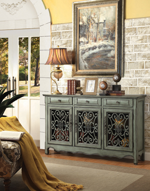 3-door Accent Cabinet Antique Green - Hover