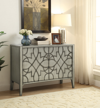 Accent Cabinet with Carved Doors Grey - Hover