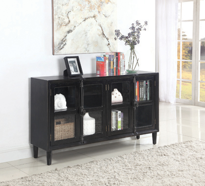 Mapleton 4-door Accent Cabinet Black - Hover