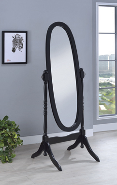 Oval Cheval Mirror Black - Hover