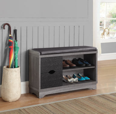 Rustic Distressed Grey Shoe Cabinet - Hover