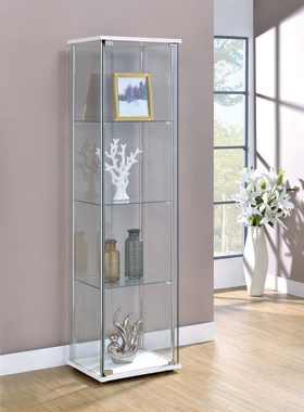 Rectangular 4-shelf Curio Cabinet White and Clear - Hover