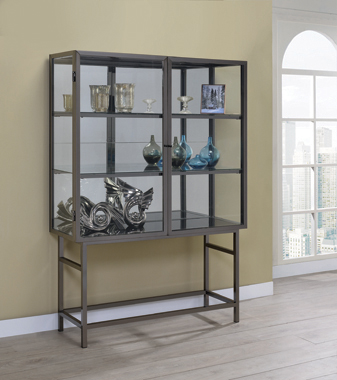 2-door Curio Cabinet Brushed Black Nickel - Hover