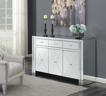 Contemporary Silver and Black Cabinet - Hover