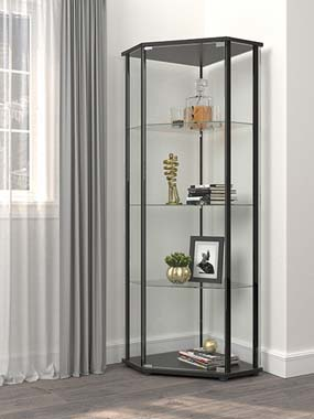 Glass Shelf Curio Cabinet Clear and Black - Hover