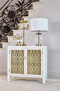 2-shelf Accent Cabinet White and Gold - Hover