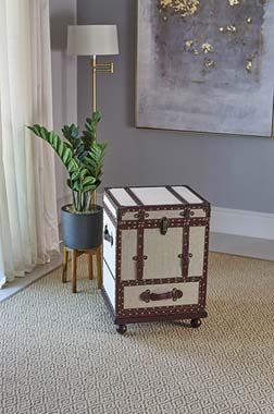 1-drawer Upholstered Accent Cabinet Beige and Bronze - Hover