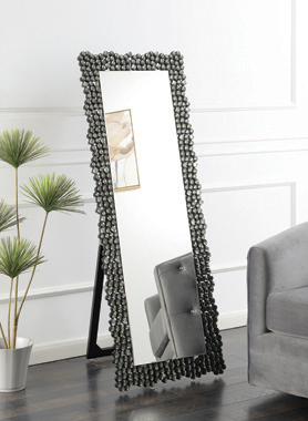 Textural Frame Cheval Floor Mirror Silver and Smoky Grey - Hover