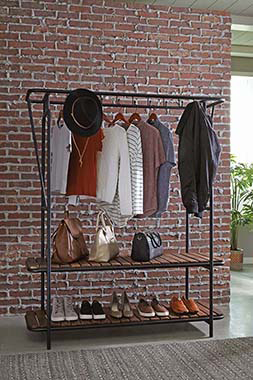 8-Coat Hooks Clothes with Shoe Rack Tobacco and Black - Hover