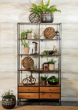 4-drawer Etagere Natural Sheesham and Black - Hover