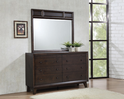 Bingham Rectangular Mirror Brown Oak - Hover