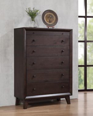 Bingham 5-drawer Rectangular Chest Brown Oak - Hover