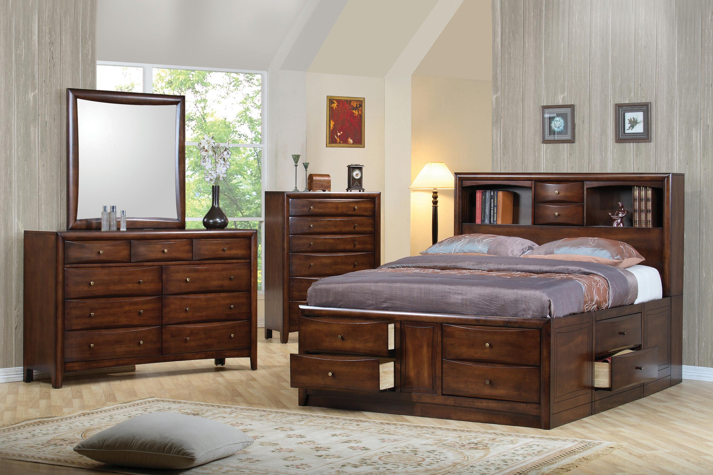 Hillary California King Platform Bed With Bookcase Headboard