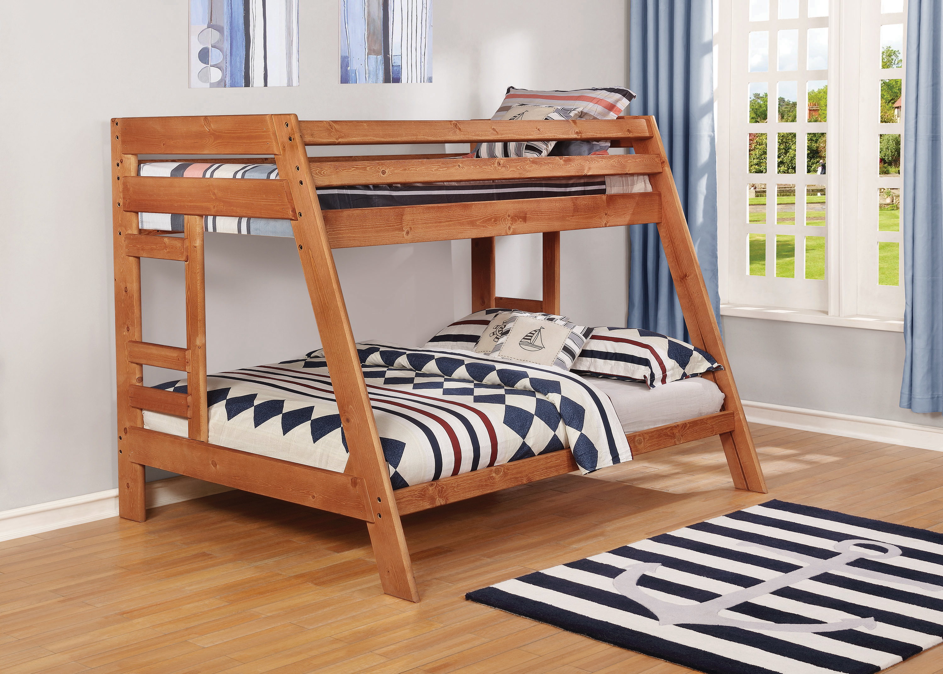 Wrangle Hill Twin Over Full Bunk Bed With Built In Ladder Amber Wash Coaster Fine Furniture