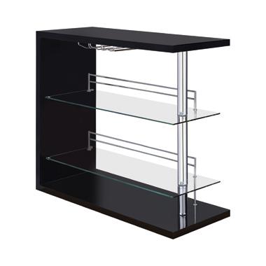 Rectangular 2-shelf Bar Unit Glossy Black