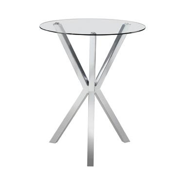 Round Glass Top Bar Table Chrome