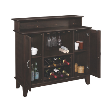 2-door Bar Unit with Adjustable Shelves Cappuccino