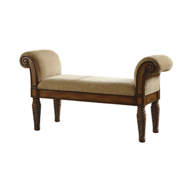 Upholstered Bench with Rolled Arm Brown and Camel