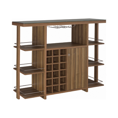 Bar Unit with Wine Bottle Storage Walnut