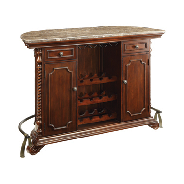 2-drawer Bar Unit with Marble Top Warm Brown