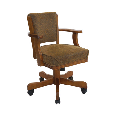 Mitchell Upholstered Game Chair Olive-brown and Amber