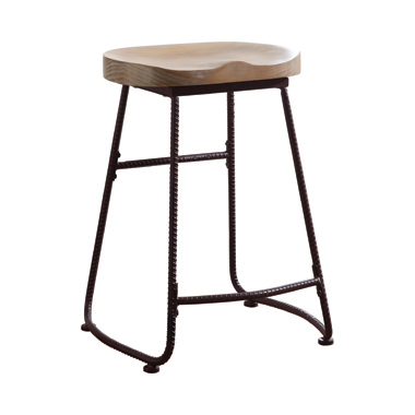 Backless Counter Height Stool Driftwood and Dark Bronze