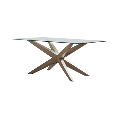 Artesia Glass Top Dining Table Grey Oak